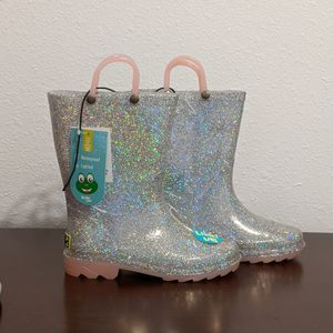 Western Chief Silver Rose Sparkle Light Up Girl's Rain Boots, size 12 - BRAND NEW, IN BOX for Sale in Orlando, FL