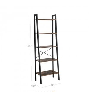 Vintage Ladder Shelf, 5-Tier Bookcase, Plant Stand and Storage Rack Wood Look Accent Furniture with Metal Frame for Home Office for Sale in Rosemead, CA