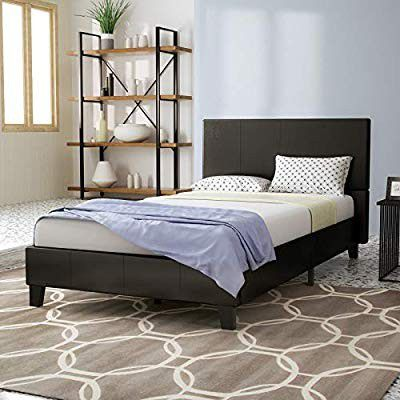 Mecor Faux Leather Bonded Platform Metal Bed Frame, Black/Twin Size - No Box Spring Needed