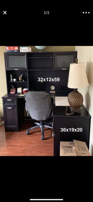3-Pieces Office Desk and Hutch (Dark Brown-Black ) 5-Drawers for Sale in Monterey Park, CA