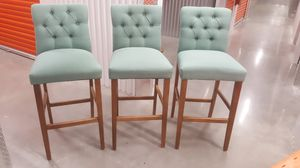 3 blue green bar height bar stools for Sale in Raleigh, NC
