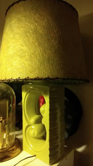 Green and gold Glass Lamp with textured leather laced shade very nice for Sale in Lexington, KY