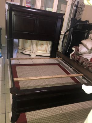Queen bed frame dresser with mirrors 1 night stand mattress with box springs for Sale in Miami, FL
