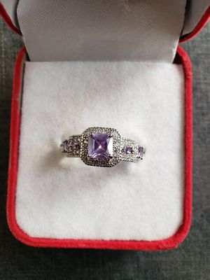 Ladies fashion jewelry emeraid cut amethyst and pink topaz mortganite gemstone silver ring size 8 for Sale in Moreno Valley, CA