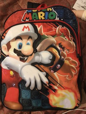 "16"" Super Mario Brothers BOWSER LUIGI WARIO Backpack School Book Bag Black for Sale in Savannah, GA"