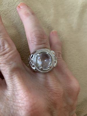 New CZ 4.5 kt clear amethyst silver wedding ring size 6 for Sale in Inverness, IL