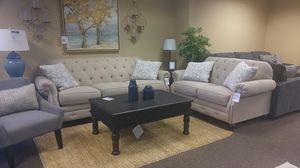 Sofa and loveseat couches in white with pillows for Sale in Portland, OR