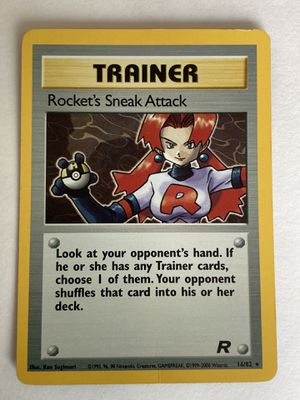 Pokemon card ROCKET'S SNEAK ATTACK - 16/82 team rocket NM Rare holo! for Sale in Pasadena, CA