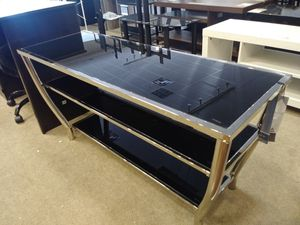 Black Tempered Glass W/ Chrome Frame Tv Stand for Sale in Phoenix, AZ