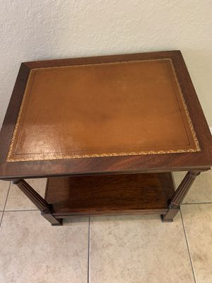 Clean leather top table with shelf for Sale in St. Petersburg, FL