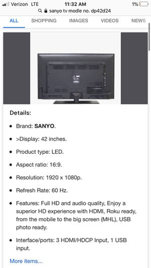 Sanyo Tv (42inches) for Sale in Monterey Park, CA