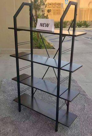 New in box 35x12x55 inches tall book shelf storage cabinet organizer book shelf rack dark oak black steel frame for Sale in Whittier, CA