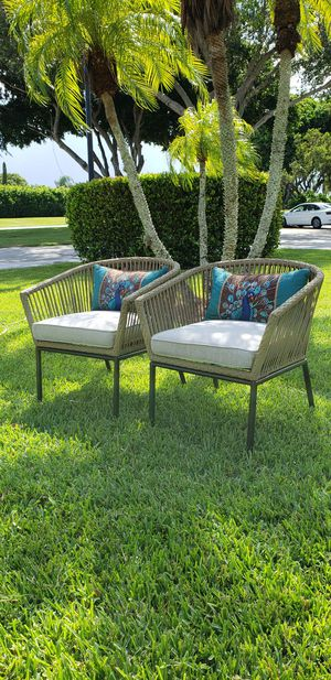 """Brand new with cushions 2pk strapped all-weather patio chairs perfect for balcony or any small space """" Throw pillows and table not included"""" for Sale in Boca Raton, FL"""