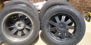 Rim for Chevy or any other 6 lug truck .Tires are used one cap is missing other than that rims are perfect o.b.o for Sale in Dallas, TX