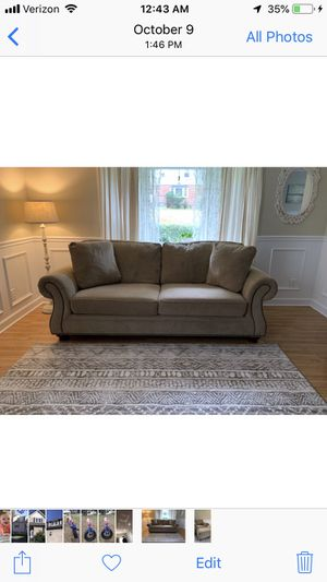 Raymour & Flanigan Couch And Chair with footrest for Sale in Rockaway, NJ
