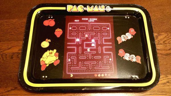 Vintage 1980s Pac-Man Tin TV Tray / Lap Table