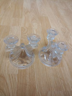 Vintage Glass Candelabra Trident Candlesticks Pair for Sale in Edgewood, WA