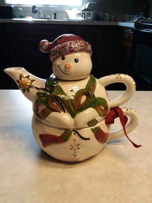 Christmas Snowman Teapot & Cup for Sale in Cochranville, PA