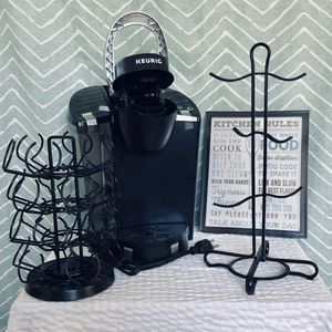 New Keurig still taped/wrapped with 24 k-cup holder, 6 mug rack all in black, framed kitchen decor still wrapped, and 2 containers for Sale in Tampa, FL