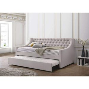 FOG FABRIC TWIN SIZE TUFTED DAY BED TRUNDLE / CAMA SENCILLAS for Sale in Pico Rivera, CA