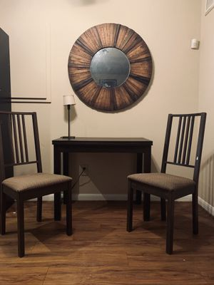 WOODEN TABLE w PULL OUT LEAVES and 2 Chairs. for Sale in Austin, TX