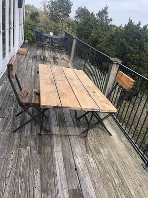 outdoor wooden patio furniture table and chairs for Sale in Austin, TX