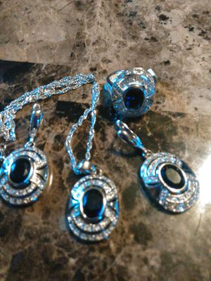 Gorgeous Blue Lab-created Saphire.Ladies Party Jewelry Set, size 8 😘 for Sale in Colorado Springs, CO