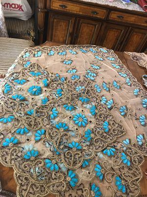 Beautiful handmade table cloth sets from Dubai. Brand new, unique and hand crafted for Sale in Pleasanton, CA