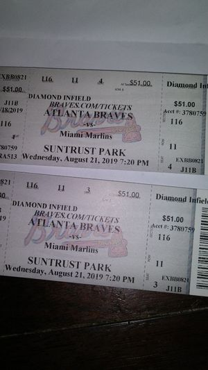 2 3rd base tickets for the Atlanta braves Game seat#3,4 row11 section116. Only for todays game. for Sale in Decatur, GA