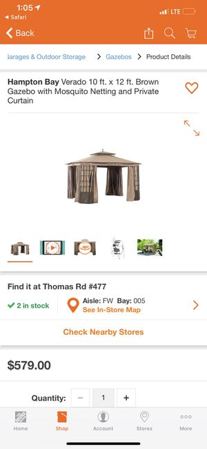 Hampton Bay Verado 10 ft. x 12 ft. Brown Gazebo with Mosquito Netting and Private Curtain for Sale in Phoenix, AZ