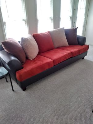 Dark Brown/Orange Couch & Loveseat for Sale in Duluth, GA