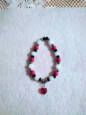 Handcrafted red, white, and black bracelet with heart charm for Sale in Colton, CA
