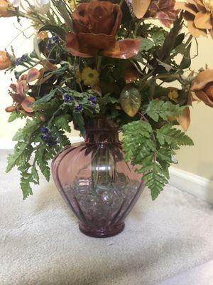 Cranberry glass large vase with silk flower arrangement for Sale in Kirkwood, NJ