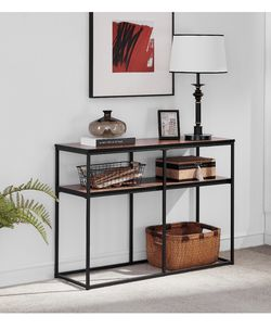 2-Tier Console Sofa Table for Entryway with Storage Shelf MDF Board Metal Frame Brown for Living Room for Sale in La Puente,  CA