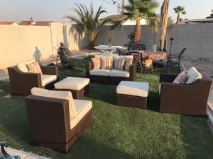 Patio wicker furniture great condition ( decorative cushions not included.) for Sale in North Las Vegas, NV