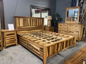 5 Piece Queen Bedroom Set Made of Solid Mahogany & Monkey Pod Price Includes: Full or Queen Storage Bed, Dresser, Mirror & 2 Nightstands for Sale in Vancouver, WA