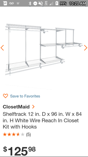 MAKE OFFER Closet Organizer 2lg shelves 3md/small shelves 4 clothes hanging poles +brackets for Sale in Romoland, CA