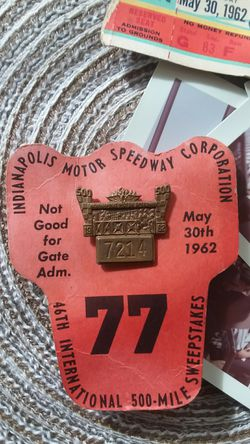 1962 indianapolis 500 ticket pitcrew badge and pictures for Sale in Aberdeen,  WA