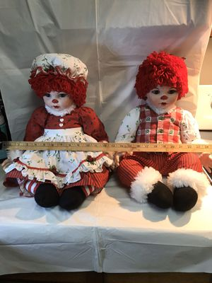 Raggedy Ann and Andy porcelain dolls for Sale in Alexandria, VA