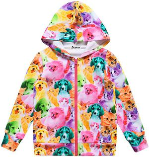 Girls Zip Up Hoodie Jacket Unicorn/Cat Sweatshirt with Pockets size 8-9Y for Sale in Las Vegas, NV