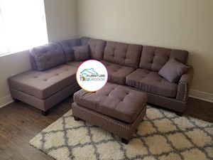New coffee polyfiber fabric sofa Sectional Couch with Ottoman and nailhead trim for Sale in Ontario, CA