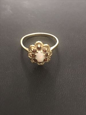 Vintage Opal and Garnet Ring / Gold Opal Ring / Gold Garnet Ring / Birthstone Ring / Multi Gemstone Ring / Opal Solitaire Ring for Sale in Richardson, TX