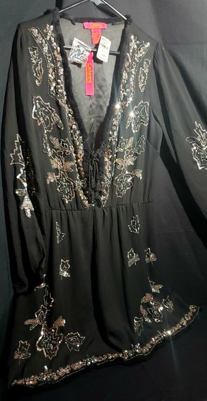 Brand New Catherine Malandrino Black Sequin & Beaded Dress w/Tags- Women's (L) for Sale in Glendale, CA