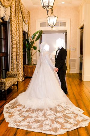 Justin Alexander long sleeve wedding dress size 18 made with Swarovski crystals for Sale in Cary, NC