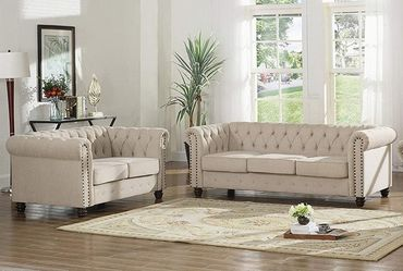 BEIGE FABRIC CHESTERFIELD STYLE TUFTED NAILHEAD ACCENTS 2 PIECE SOFA LOVESEAT SET - COUCH SILLONES for Sale in Downey,  CA