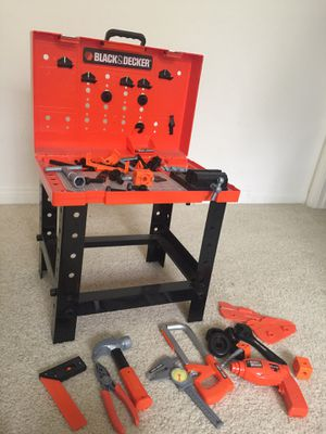 Black and Decker Construction Workbench and Toy Tools Set - Includes Play Hammer, Screwdriver, Wrench, Drill, and More - Perfect for Kids, Toddlers, for Sale in Rancho Cucamonga, CA