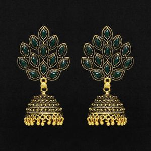 Fashion Oxidized Jhumka Earrings With Glass Stones And Gold Color Beads for Sale in Santa Clarita, CA
