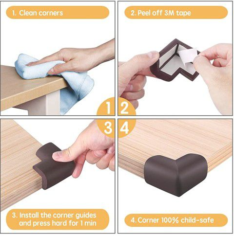 Baby Proofing Corner Protector (12 Pack) NBR Material Thickening Brown Corner Guards for Furniture Desk Child Safety Corner Bumper Table Corner Covers