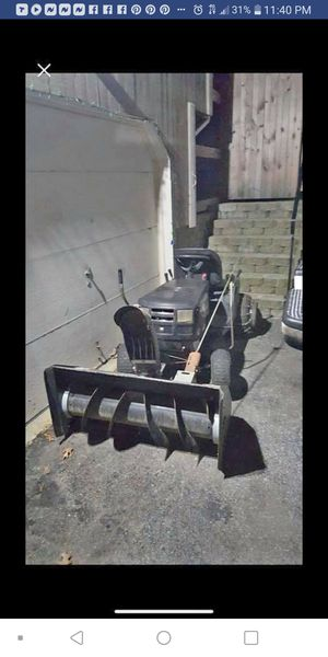 Ride on lawn mower with snow thrower attachment starts right up runs good need gone 400 for Sale in North Providence, RI