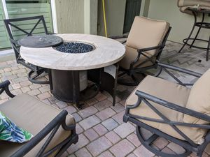 Propane Fireplace with 4 swivel chairs for Sale in Rockledge, FL